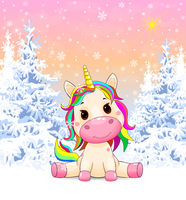 Unicorn in the winter snowy forest