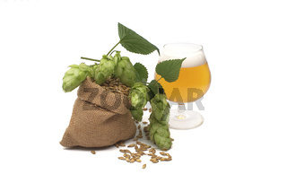 Beer with hops and barley spilling from a hessian bag