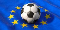 EM - European championship, football lies on the European flag