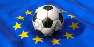 EM - Europameisterschaft, Fußball liegt auf Europafahne