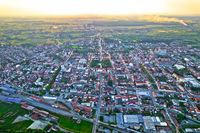 Town of Bjelovar aerial sunset view
