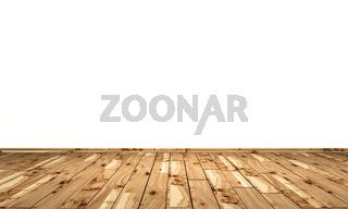 Weisse Wand mit Holzboden - Pappel Maser