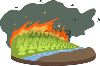 Wildfire cartoon vector illustration. Burning forest, woods. Fire destroying woodland. Cataclysm. Extreme weather conditions. Flat color natural disaster isolated on white background