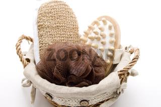 Massagebuerste und Schwamm