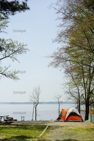 A tent at a waterfront campsite in Jordan Lake State Park,  near Raleigh North Carolina