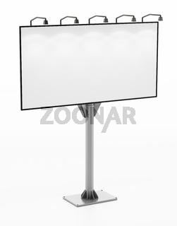 Blank street billboard isolated on white background. 3D illustration