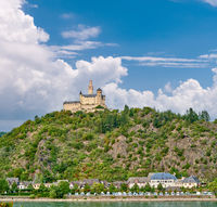 Marksburg castle on Rhine river in Germany