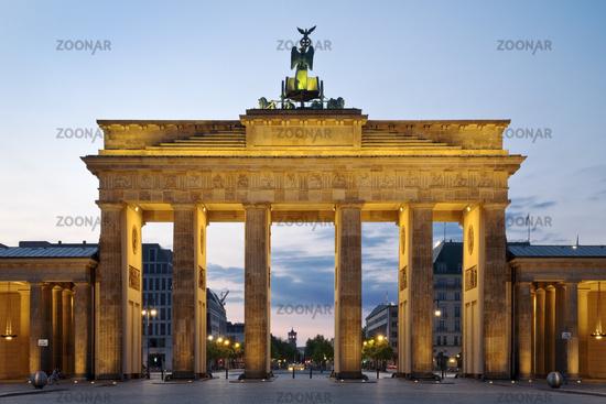 Illuminated Brandenburg Gate in the morning, Berlin, Germany, Europe