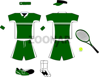 Green and White Tennis Equipment