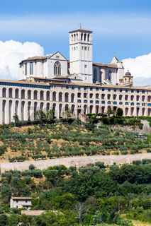 Assisi village in Umbria region, Italy. The most important Italian Basilica dedicated to St. Francis - San Francesco.