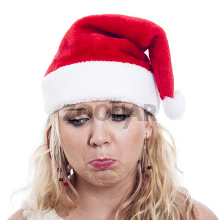 Sad Christmas woman face