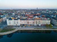 Drone View Neon Lights on Buildings in Copenhagen, Denmark