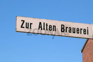 Hinweisschild zur alten Brauerei in Hitdorf