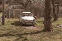Old Trabant on a miniature golf course