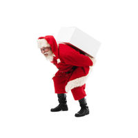 Santa Claus carrying gift box on white