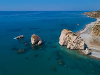 Aphrodite rock in Paphos Cyprus - aerial view