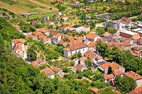 Aerial view of Vrlika, town in Dalmatian Zagora
