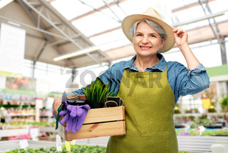 senior woman with tools in box at garden store