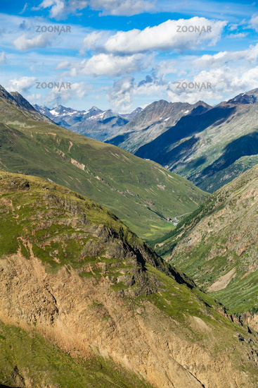 View in direction of the valley towards Vent in the Ötztal, taken near the Vernagthütte, Austria