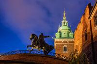 Tadeusz Kosciuszko Monument at Night in Krakow