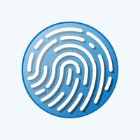 round fingerprint or thumbprint symbol isolated on white