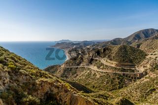 Scenic winding mountain road on the Costa de Almeria in southern Spain