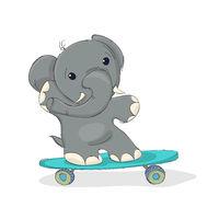 Elephant on a skateboard