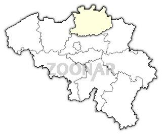 Map of Belgium, Antwerp highlighted
