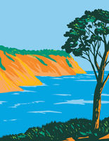 Port-Cros National Park or Parc National De Port-Cros on the Mediterranean Island of Port-Cros France Art Deco WPA Poster Art