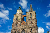 Two towers of the Church of St. Nicholas. Juterbog is a historic town in north-eastern Germany
