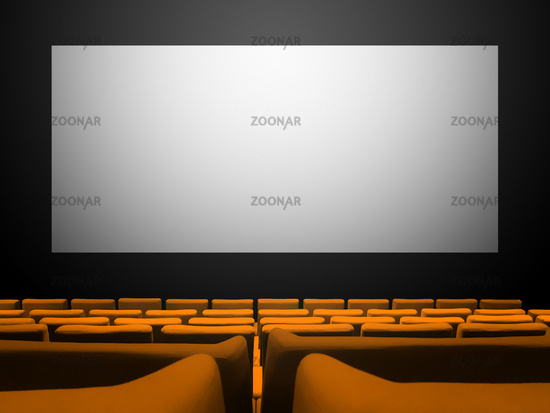 Cinema movie theatre with orange seats and a blank white screen
