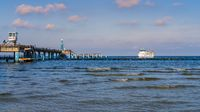 A ferry arriving at the Sellin Pier, Mecklenburg-Western Pomerania, Germany