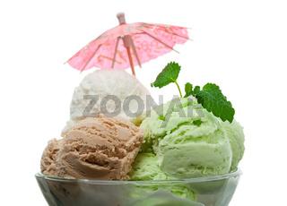ice cream in a glass vase.
