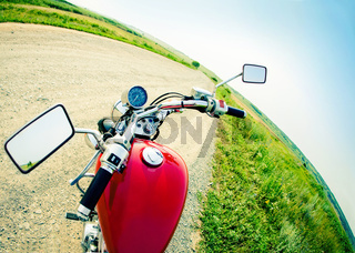Drivers view of the cockpit in a modern motorcycle