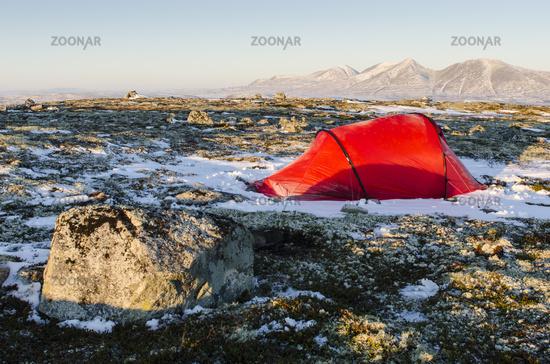 tent with view to Mt. Rendalssoelen, Norway
