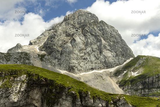 Mangart mountain in Slovenia in summer
