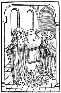 medieval depiction of a woman possessed by the devil