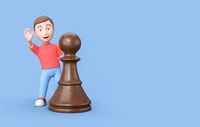 Young Kid 3D Cartoon Character Behind a Chessman on Blue with Copy Space