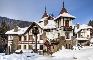 Winter castle in Carpathians