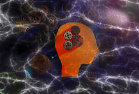Head figure with brain gears  and electricity background -- science technology or AI concept
