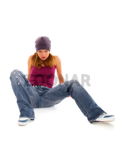 pretty girl-teenager sitting on white background