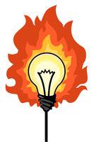 Light Bulb Fire Cartoon