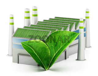 Ecological factory isolated on white background. 3D illustration