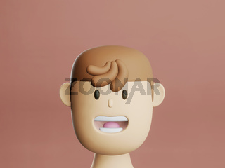 Cartoon head portrait of young man with smiley face. 3d render in cartoon style in solid red background. gen z