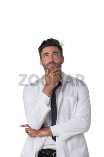 Thinking doctor with hand on chin