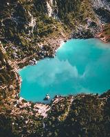 Aerial view of Lago di Sorapis, Dolomites, Italy.