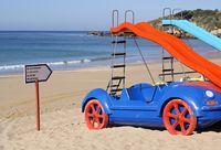 Funny pedal boats in car shape on Albufeira beach, Algarve - Portugal