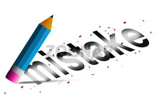 Erase mistake word with  pencil eraser isolated