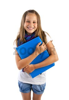 school girl with blue folder