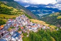 Stelvio village or Stilfs in Dolomites Alps landscape aerial view